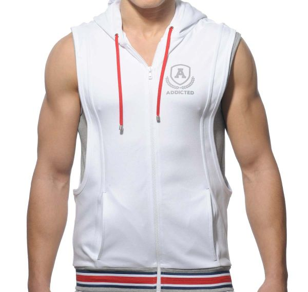 Addicted Sportjacke ZIP COTTON HOODY AD334, weiß
