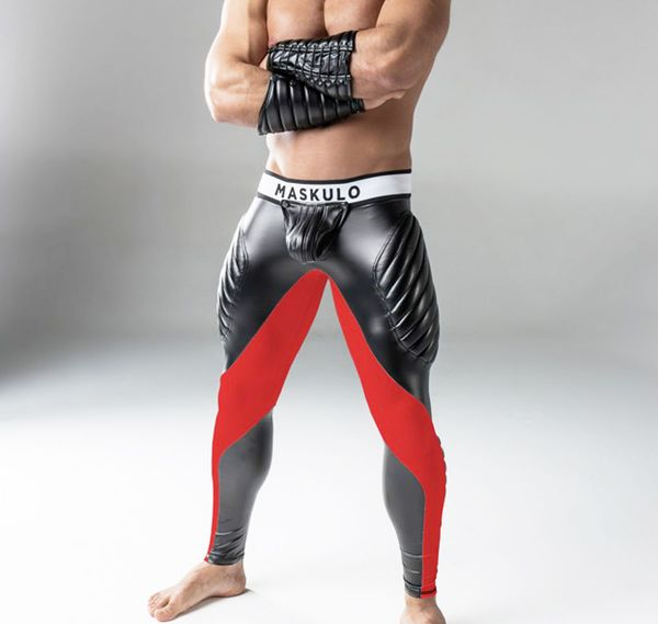 MASKULO Fetish Leggings ARMORED. Zipped Rear LG22, schwarz/rot