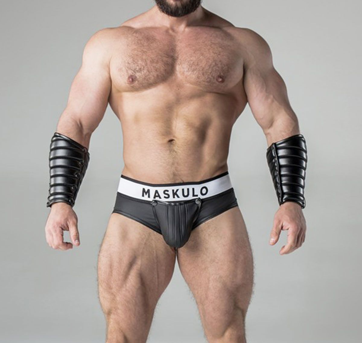 MASKULO Fetish Brief ARMORED. Rubber Look Backless BR10-90, black