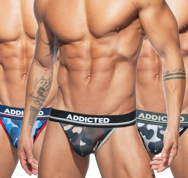 Addicted 3er Pack Slips CAMO MESH BIKINI PUSH UP AD699P