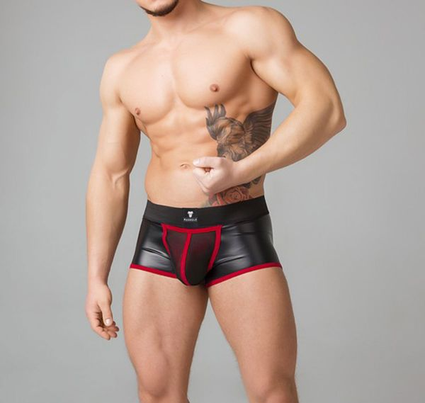 MASKULO Fetish Boxershorts YOUNGERO. Mesh Codpiece Backless TR050-10, rot