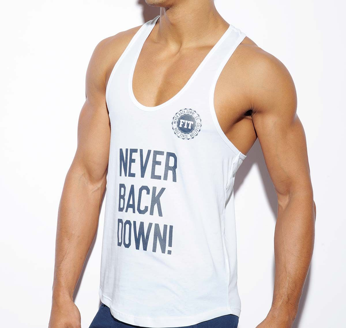 ES Collection NEVER BACK DOWN TANK TOP TS169, weiß