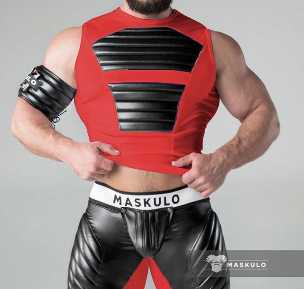 MASKULO Fetish Tank Top ARMORED. TP20-10, rot