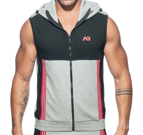 Addicted Sportjacke SLEEVELESS HOODY AD673, grau