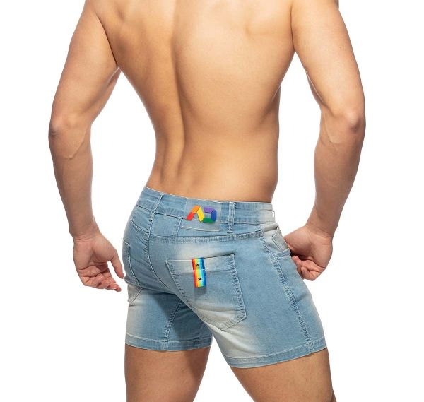 Addicted kurze Jeanshose RAINBOW TAPE SHORT JEANS AD991, blue