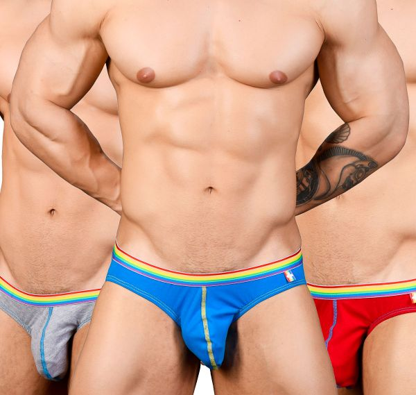 Andrew Christian Slip 3er Pack BOY BRIEF UNICORN 3-PACK 91184, blau/grau/rot