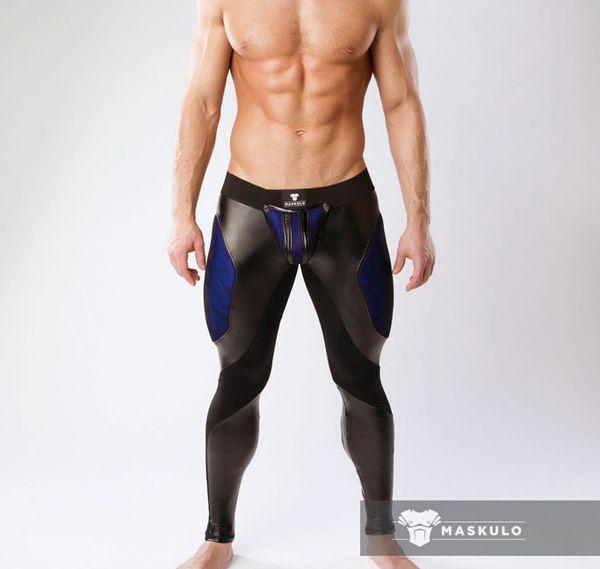 MASKULO Fetish Leggings ARMORED. COLOR-UNDER. LG062, schwarz/blau