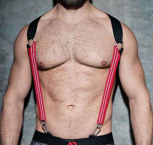 AD FETISH Harness ELASTIC SUSPENDERS ADF85, rot