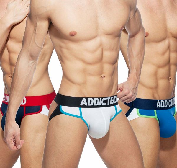 Addicted 3er Pack Jockstrap SECOND SKIN 3 PACK JOCK AD899P, white, royal blue, navy