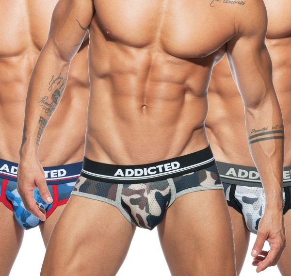 Addicted 3er Pack Slips MESH CAMO BRIEF PUSH UP AD697P