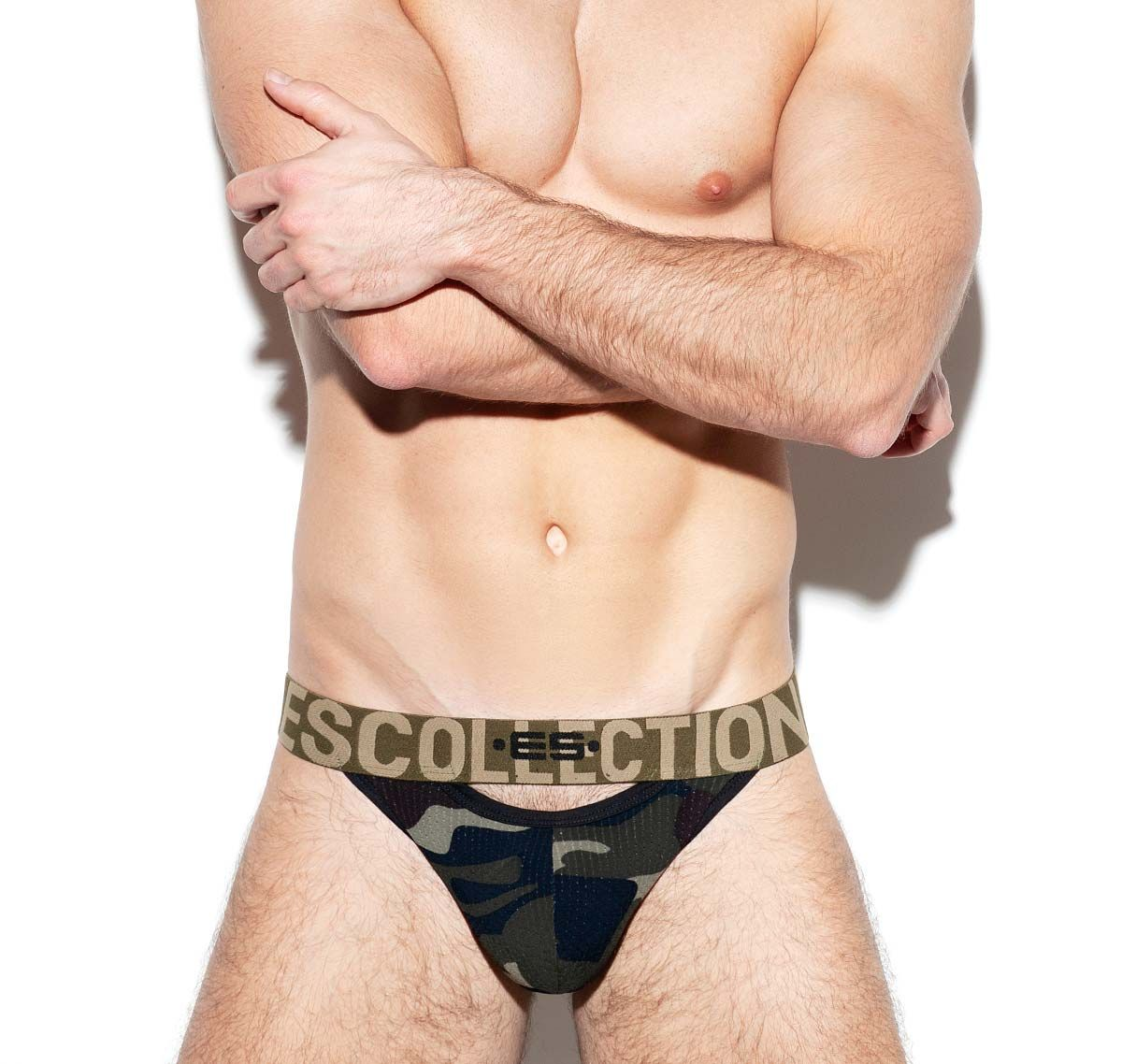 ES Collection Brief DOUBLE OPENING MESH BIKINI UN332, camouflage