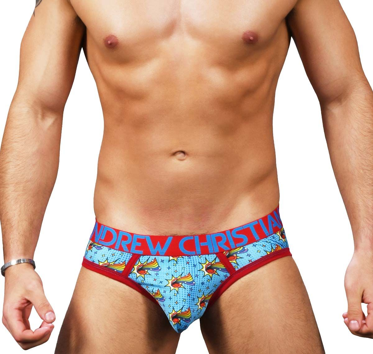 Andrew Christian Slip OUT & PROUD RAINBOW BRIEF w/Almost Naked 91269, multicolor