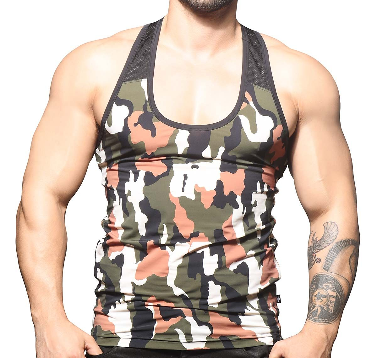 Andrew Christian Canotta CAMOUFLAGE MESH TANK 2807, army