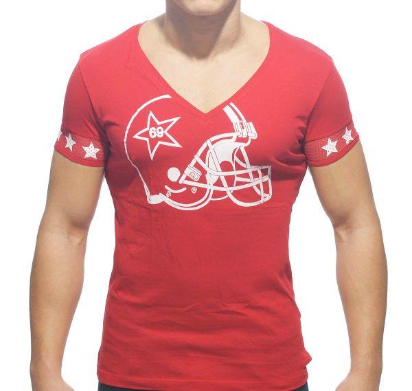 Addicted T-Shirt V-NECK HELMET AD300, rot