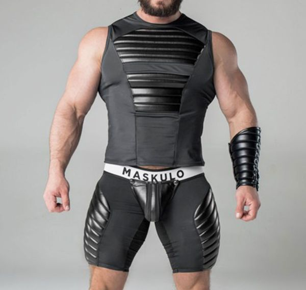 MASKULO Fetish Shorts ARMORED. Zippered Rear SH18-10, black