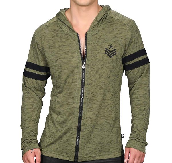 Andrew Christian Sportjacke SERGEANT BURNOUT HOODIE 5137, army