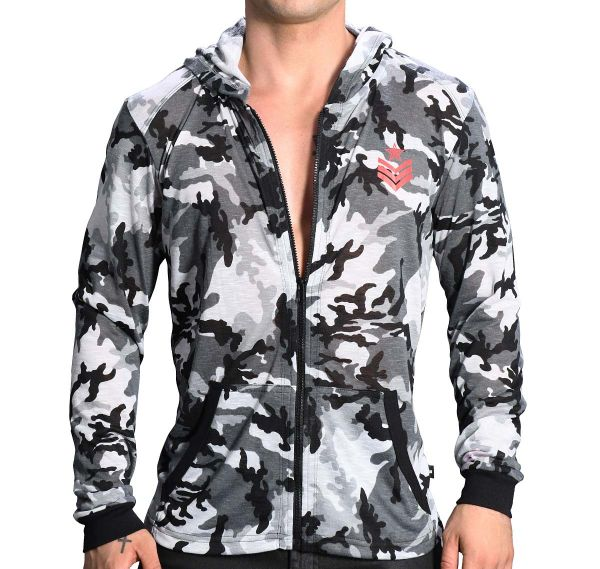 Andrew Christian Chaqueta con capucha SERGEANT CAMO SKINNY HOODIE 5142, gris