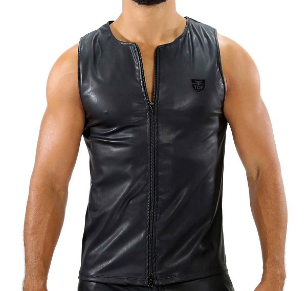 TOF Tank Top ZIPPED TANK TOP FETISH TS0036N, schwarz