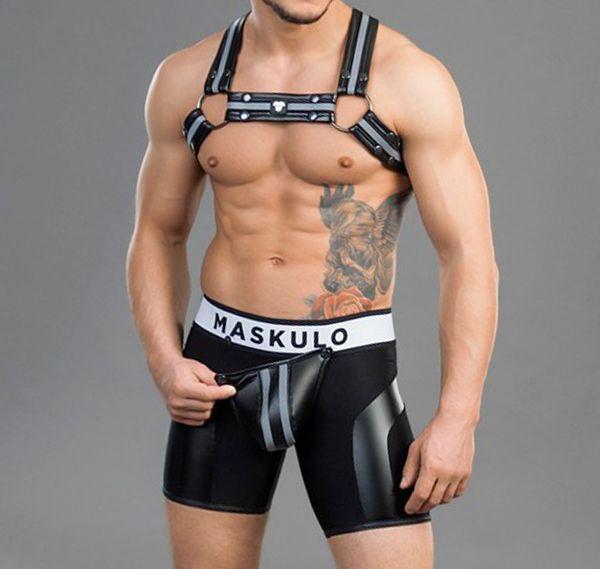 MASKULO Fetish Shorts Zipped Rear YOUNGERO. SH32, schwarz
