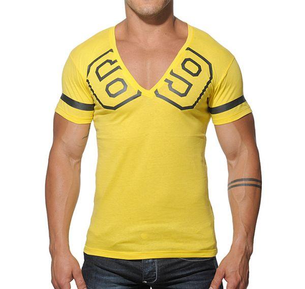 Addicted 69 V-Neck T-Shirt Sportshirt yellow AD199 03