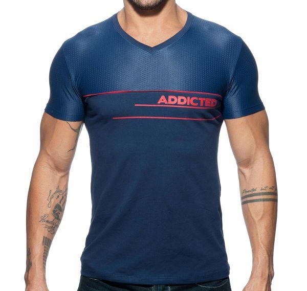 Addicted T-Shirt V-Neck AD COMBI MESH T-SHIRT AD660, navy