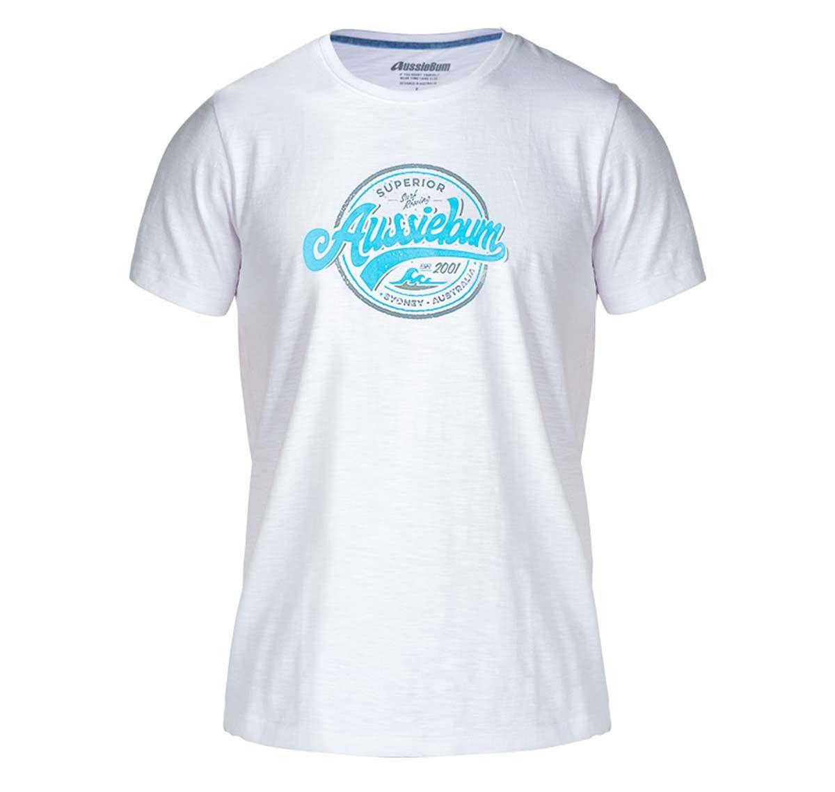 aussieBum Maglietta DESIGNER TEE WAVES BLUE, bianco