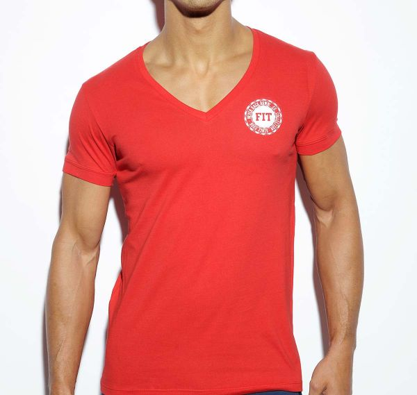 ES Collection NEVER BACK DOWN V-NECK T-SHIRT TS173, rot