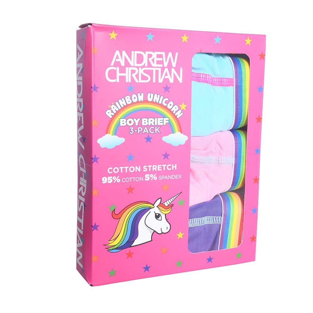 Andrew Christian Brief 2/3 pack BOY BRIEF UNICORN 3-PACK 90842, blue/purple/pink