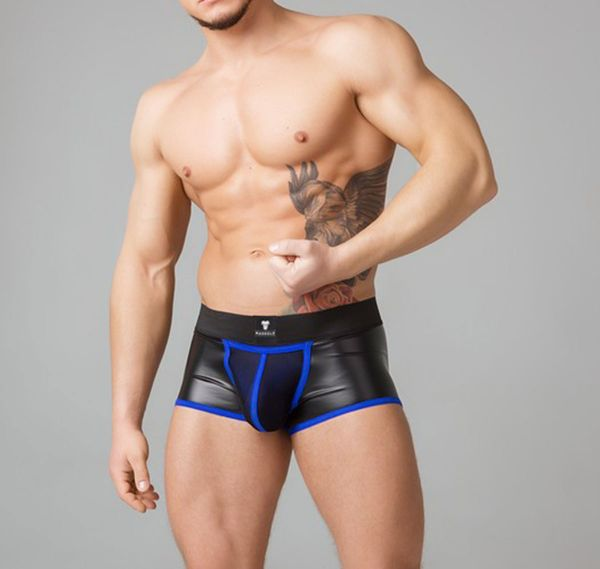 MASKULO Fetish Boxers YOUNGERO. Mesh Codpiece Backless TR050-62, blue