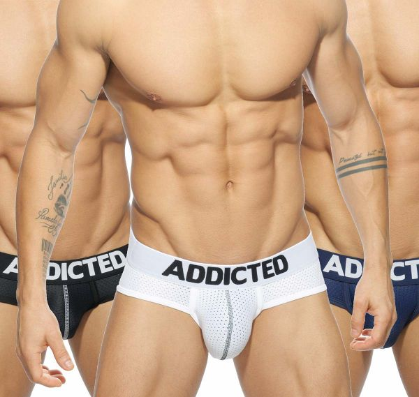 Addicted 3er Pack Herren Slips MESH BRIEF PUSH UP AD475P