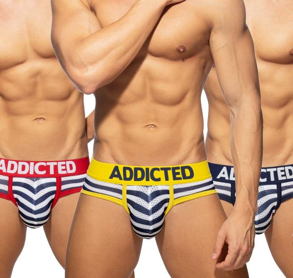 Addicted 3er Pack Slips SAILOR BRIEF PUSH UP AD964P, 3 Farben