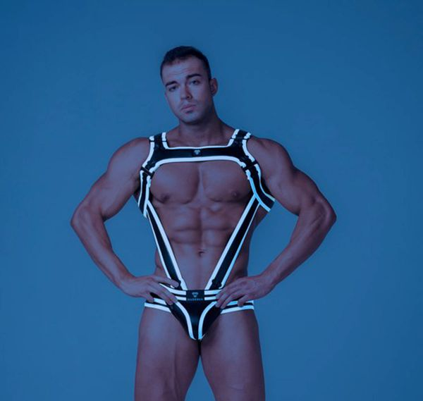 MASKULO Imbracatura YOUNGERO GENERATION Y. Men's Fetish Bulldog Harness with Cockring HR111-80, bianco