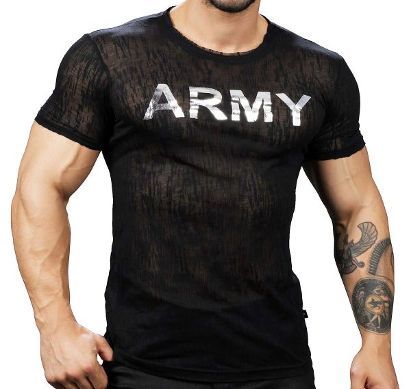 Andrew Christian T-shirt GLAM BURNOUT ARMY TEE 10282, noir