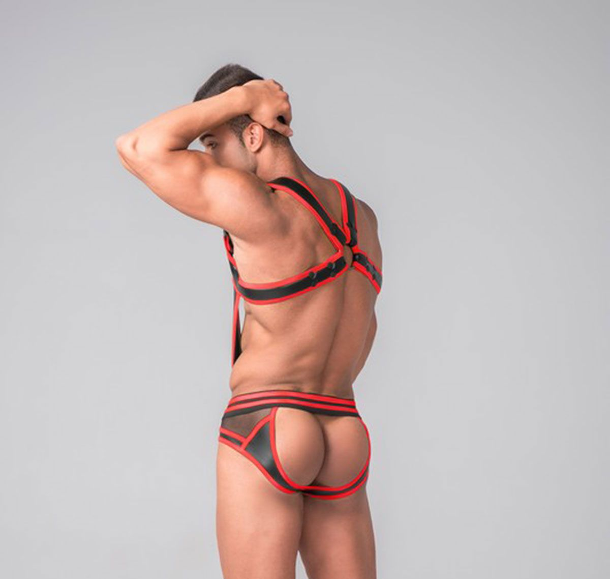 MASKULO Harness YOUNGERO GENERATION Y. Men's Fetish Bulldog Harness with Cockring HR111-10, red