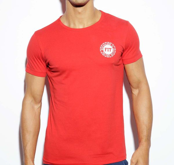 ES Collection NEVER BACK DOWN U-NECK T-SHIRT TS172, rot