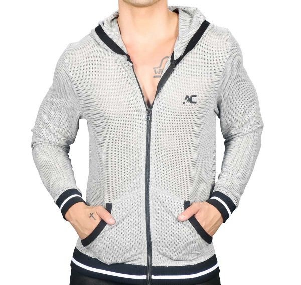 Andrew Christian Chaqueta con capucha ATHLETIC MESH SKINNY Hoodie 5139, gris