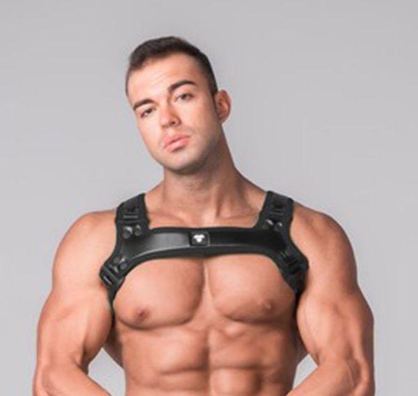 MASKULO Harness YOUNGERO GENERATION Y. Men´s Fetish Bulldog Harness. HR110-90, schwarz
